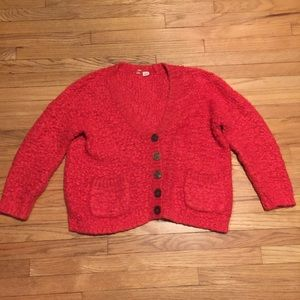Anthropologie Moth red chunky cardigan sweater - S